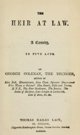 "Title Page for George Colman the  Younger's play, ""The Heir At Law"""