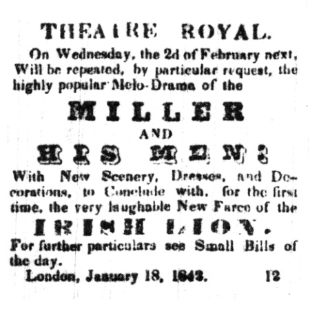 "Advertisement for ""The Miller and His Men"" at the Theatre Royal in London, Canada West, to be performed on 2 February 1842"