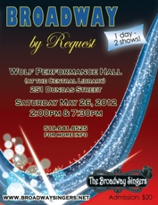 "Poster for the Broadway Singers' ""Broadway By Request"""